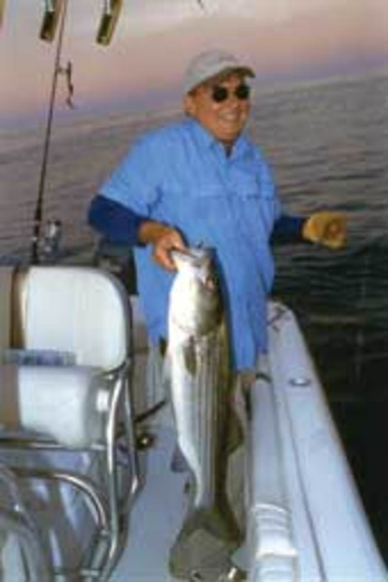 Plastic baits are capable of fooling lots of saltwater fish, including this keeper striper caught just as the sun was setting.
