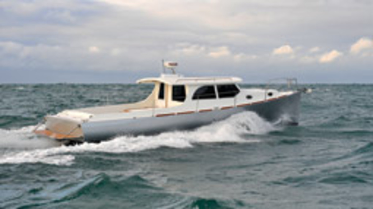 The 39-foot Rangeboat makes 21 knots with a single 240-hp diesel, and 16 knots requires just 120 hp and 6 gph for an amazing 2.66 nmpg.