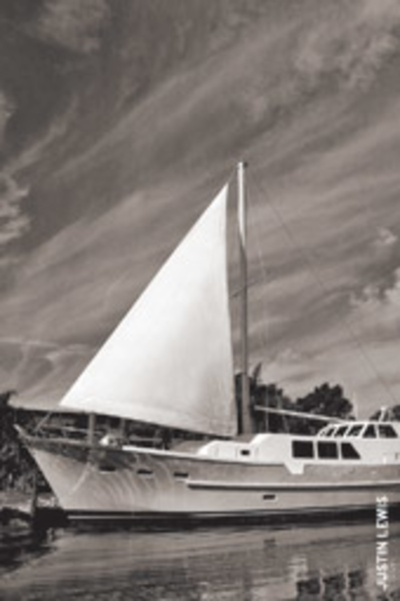 Southern Wind, the group's 76-foot double-ended motorsailer, is built of cold-molded marine plywood and powered by twin 671 Detroit Diesels.