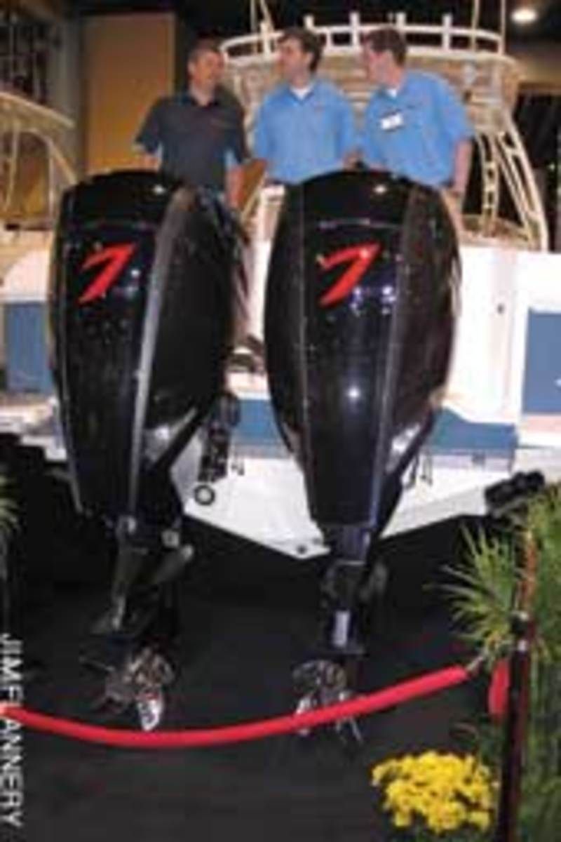 Seven Marine unveiled its 557-hp outboard on an Intrepid 370 Cuddy at this year's Miami boat show.