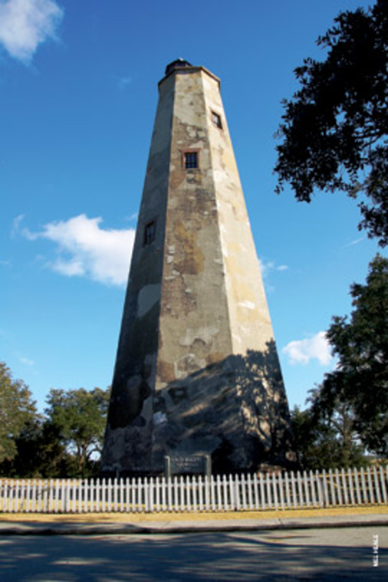'Old Baldy,' North Carolina's oldest standing lighthouse, has marked the mouth of the Cape Fear River since 1817.