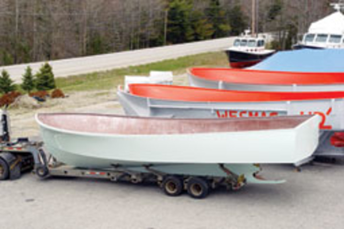 Wesmac Custom Boats in Surry, Maine, prepared a 46-footer for Jeff Maggio, a client in Fort Lauderdale, Fla. Maggio trailered the hull/pilothouse to Florida for finishing.