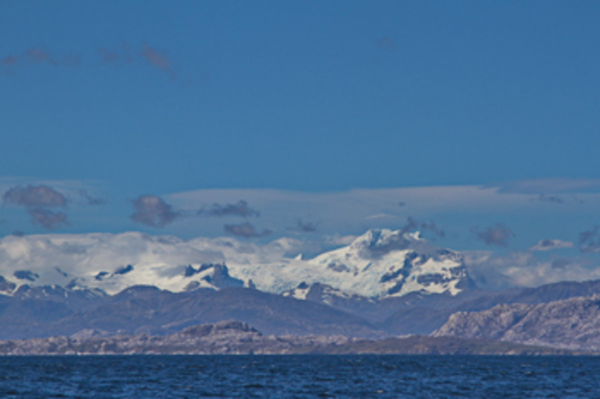 A view of the Breaknock Peninsula and Andes Mountains.