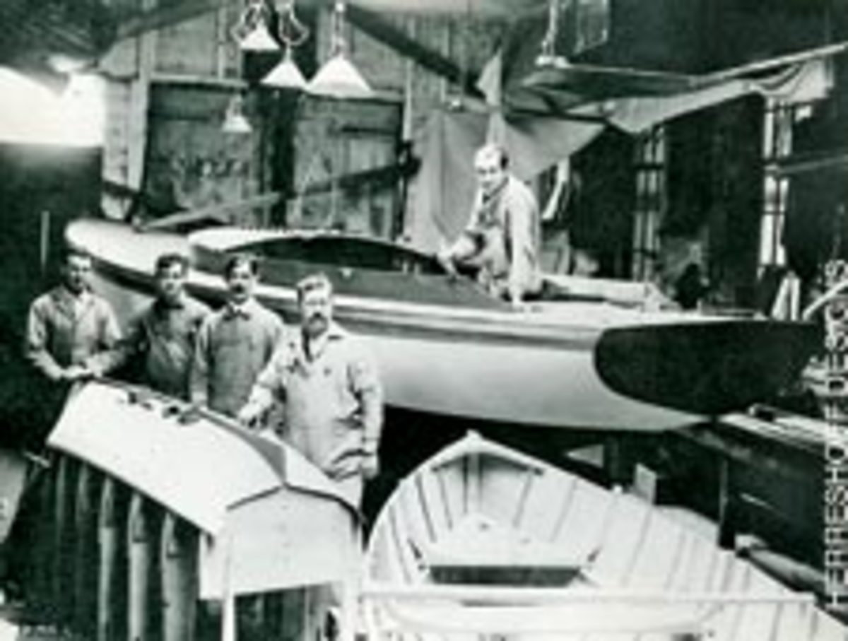 Working on Alerion III at Herreshoff Manufacturing Company in 1912 are, from left, Ernest Adler, Charlie Sylvester, Henry Vincent, Jim Clarkson and Willard Kenny.