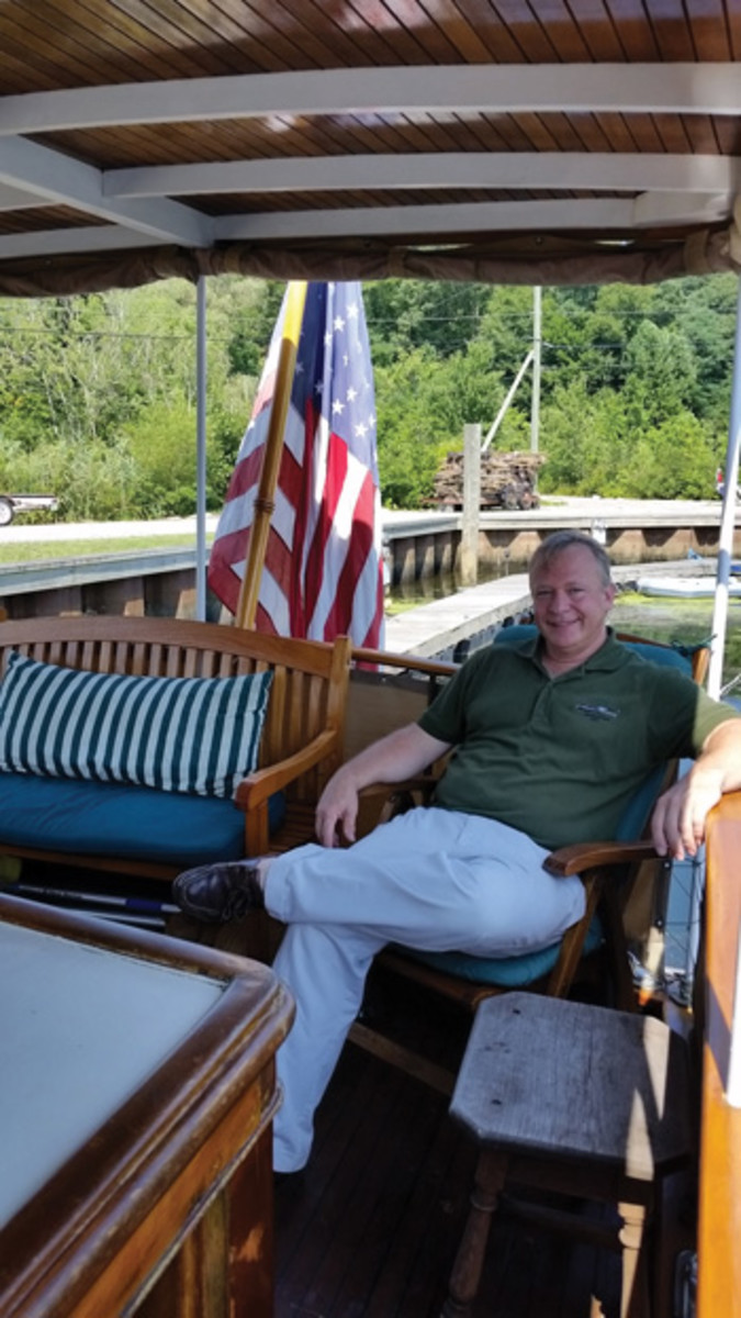 Owner Mike Fazio, relaxing on the aft deck.