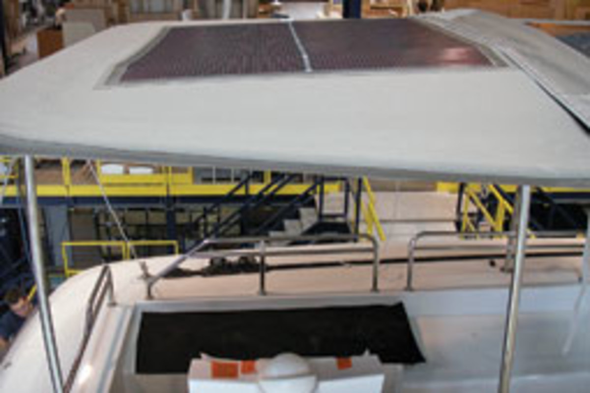 The Bimini has two 10.75-square-foot panels that produce 50 watts each.