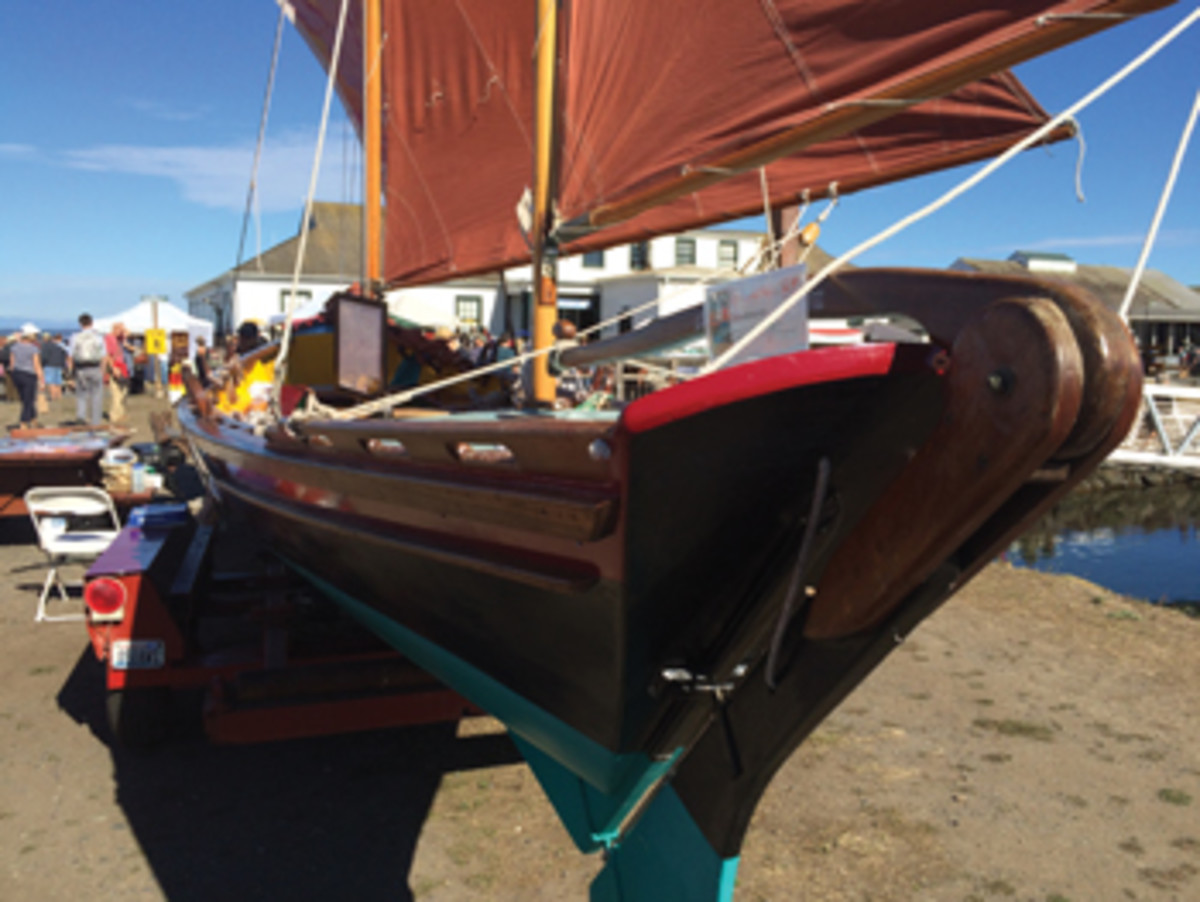 Dragonheart, a community-built oceanic dory with a Bermuda rig.