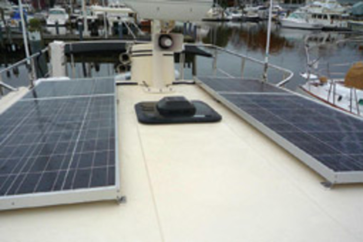 Solar panels on a Nordic Tug 32.