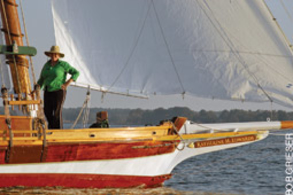 The hull of the Katherine M. Edwards is built in the traditional method, by taking measurements from a half-hull model scaled at 3/4 inch to a foot.
