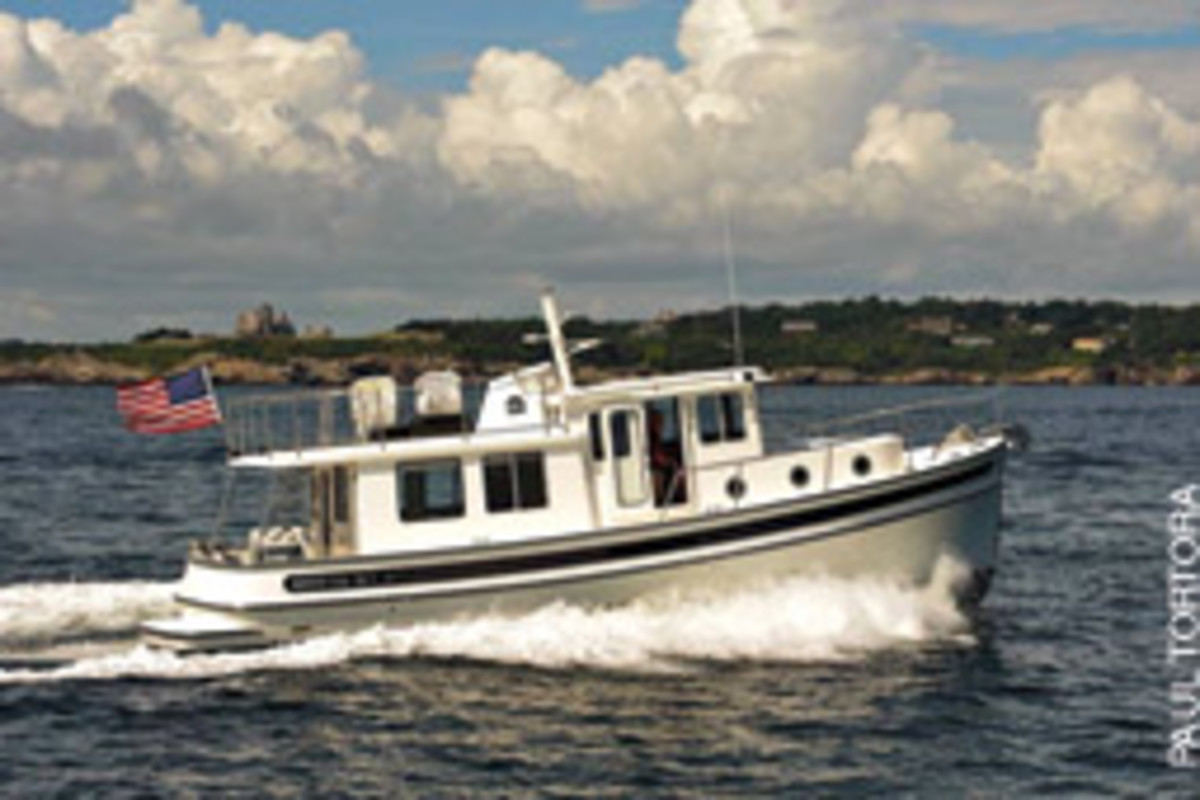 The Nordic Tug 37, the most popular model in the boatbuilder's line, is available with either a double cabin or a convertible layout that features a master berth and either a laundry room, office or nav station.