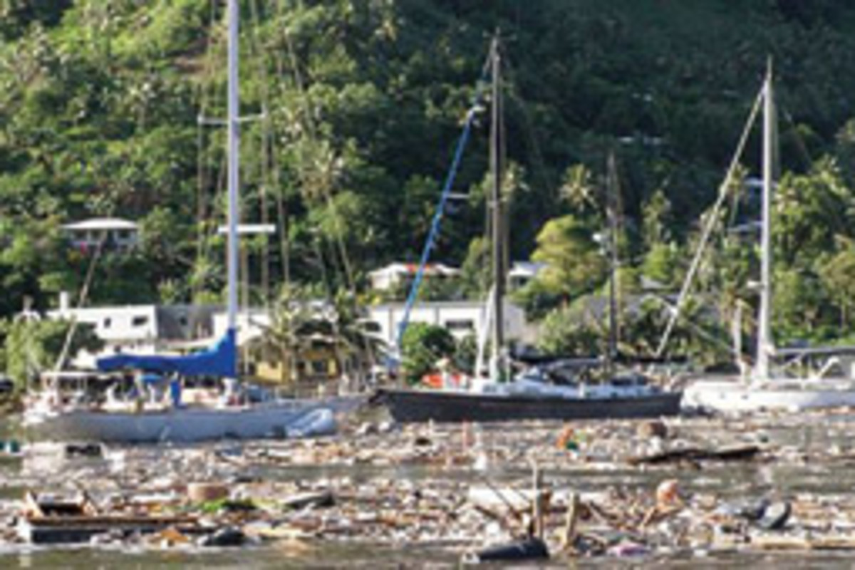Yachts littered the landscape in American Samoa after the tsunami.