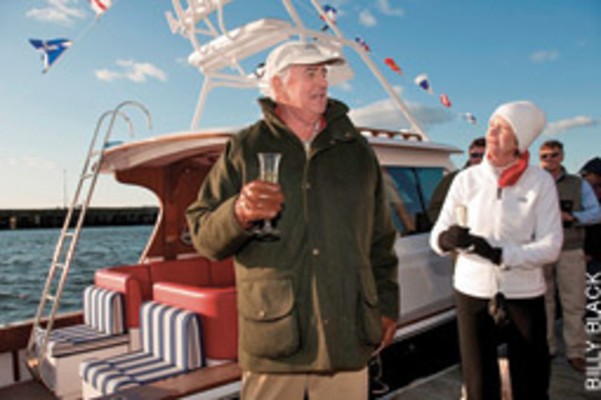 Champagne was the order of the day when Hunter and Lynne White launched their new Harrier.