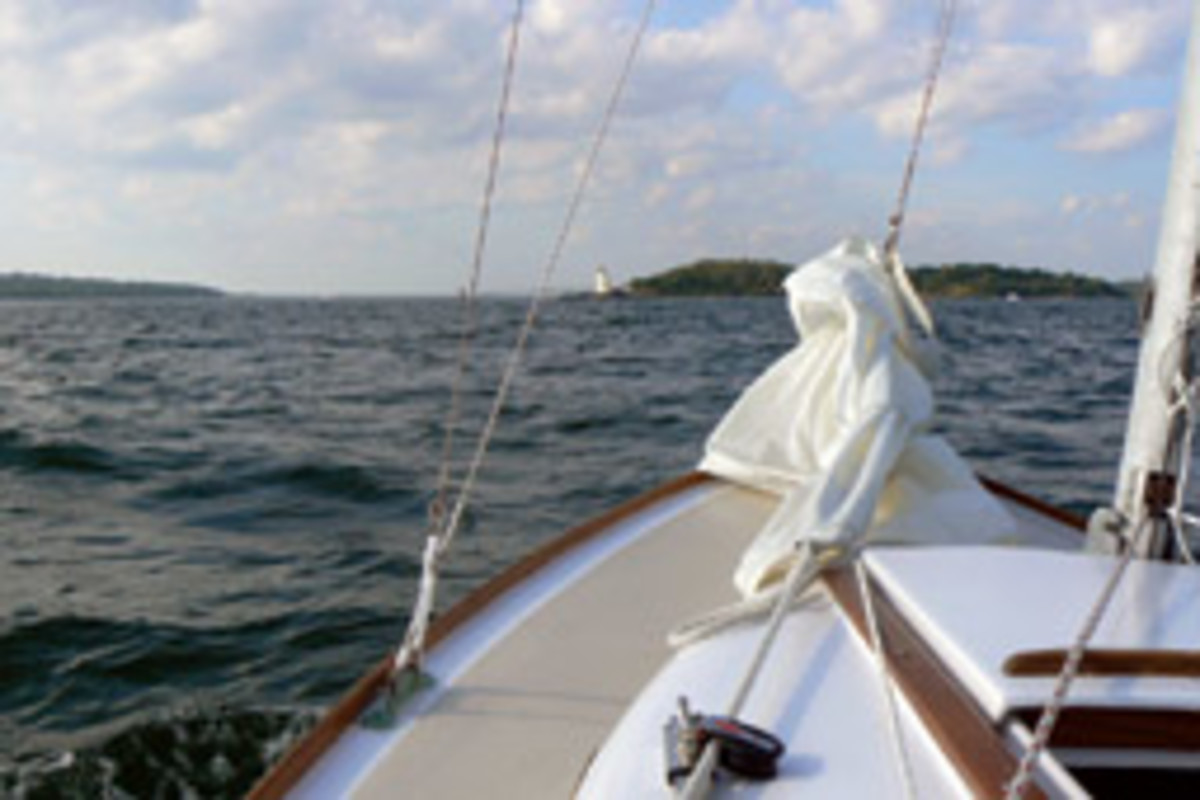 Hall sails his Cape Dory Typhoon two to three times a week during the season.