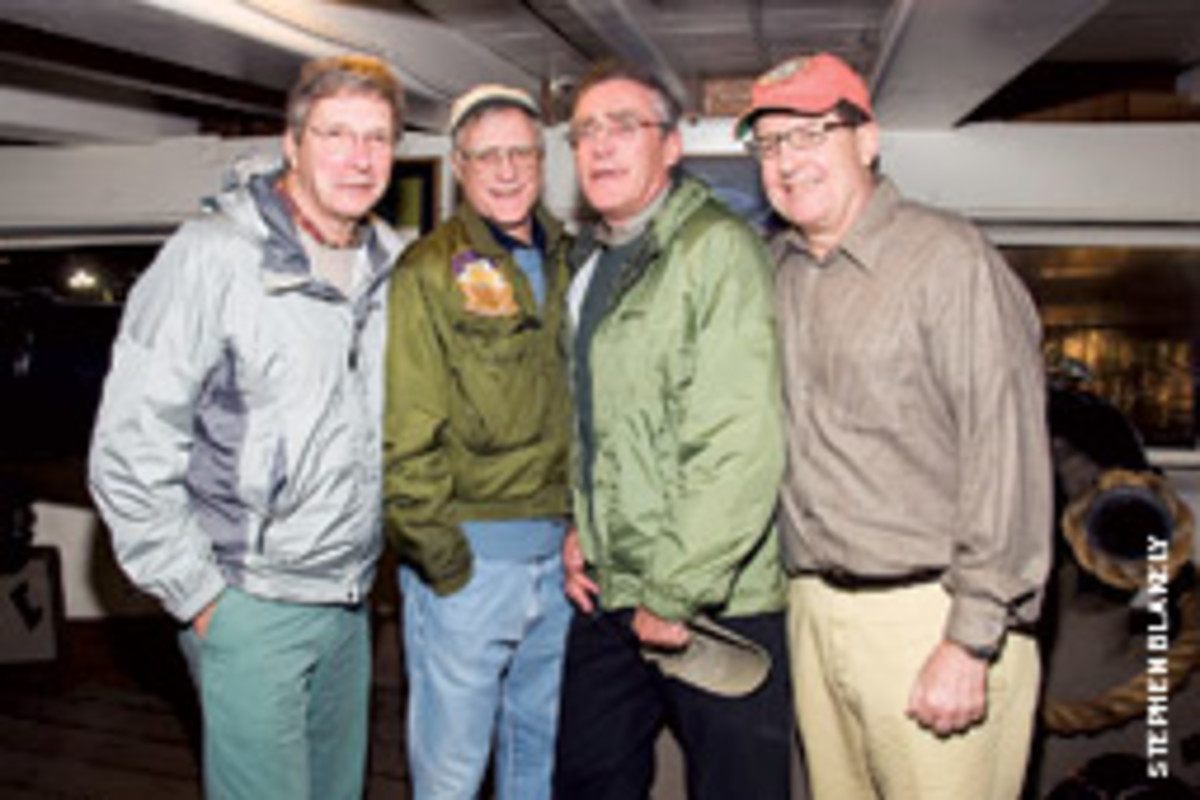 White Hawk's winning crewmembers (from left to right) Tim Clark, Ken Dalecki, Steve Blakely and owner Chris O'Finn.
