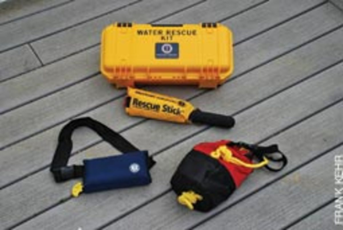 The Water Rescue Kit, from Mustang Survival, contains an inflatable PFD to protect the rescuer.