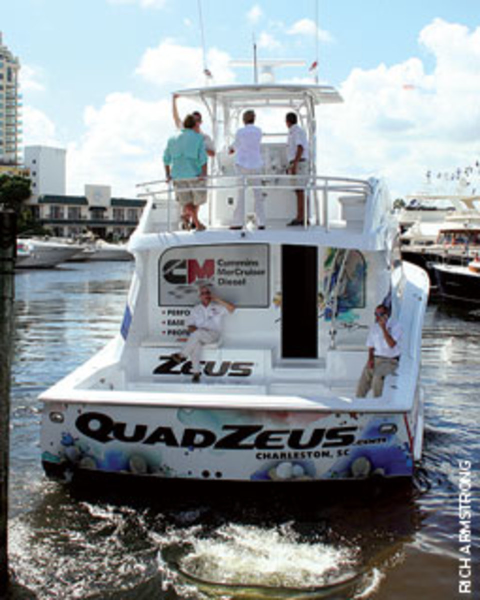 The QuadZeus boat is a floating billboard for CMD and an instructional platform for joystick control.