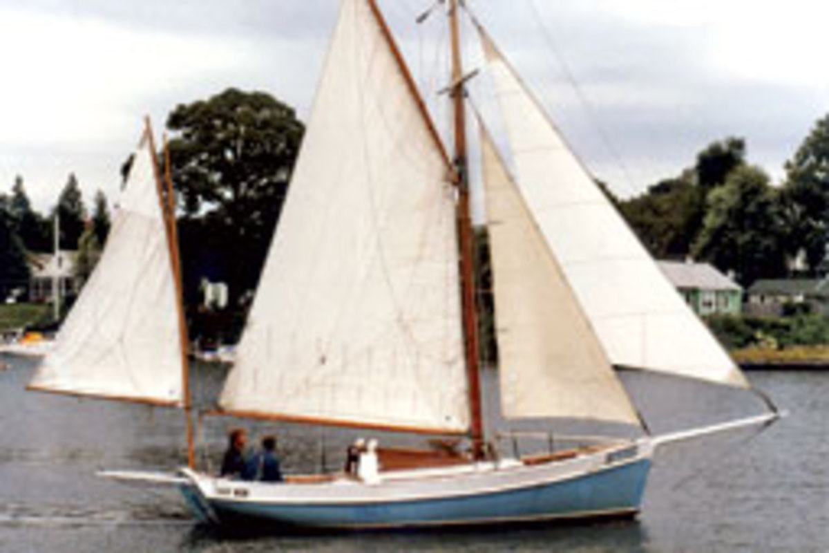 Gillmer sails his own Blue Moon in Annapolis in 1980.