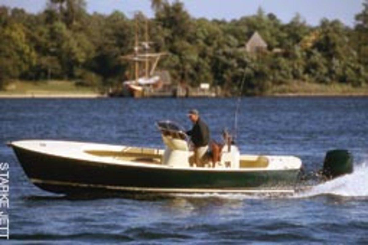 McKenney's custom 22-foot skiff was designed by Picnic Boat designer Bruce King.