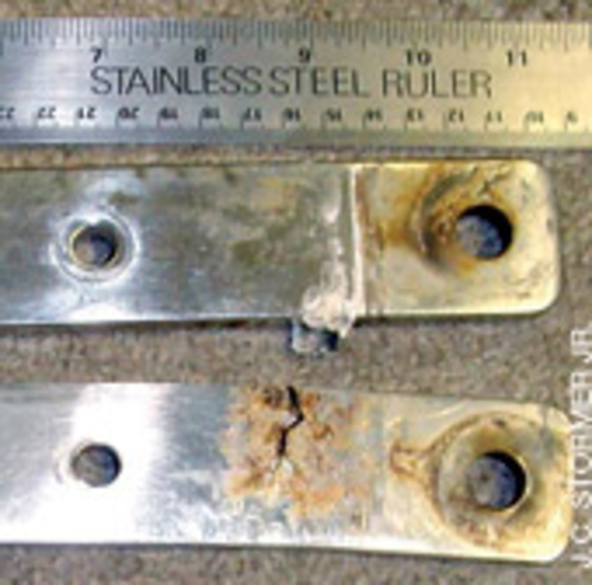 Some boats have fittings bolted through the deck rather than chain plates. Once the bedding of these fittings begins to leak, the bolts are subject to corrosion.