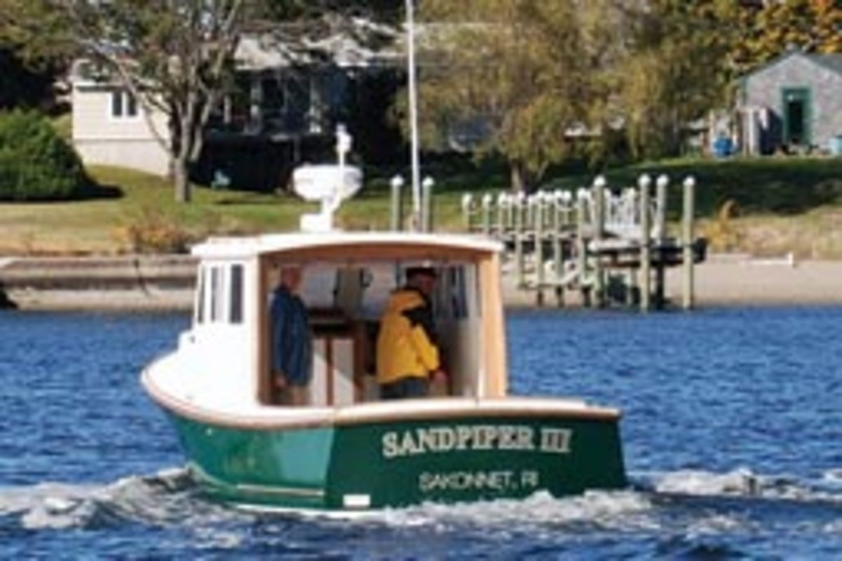 Sandpiper III's tumblehome stern is designed to ward off following and quartering seas.