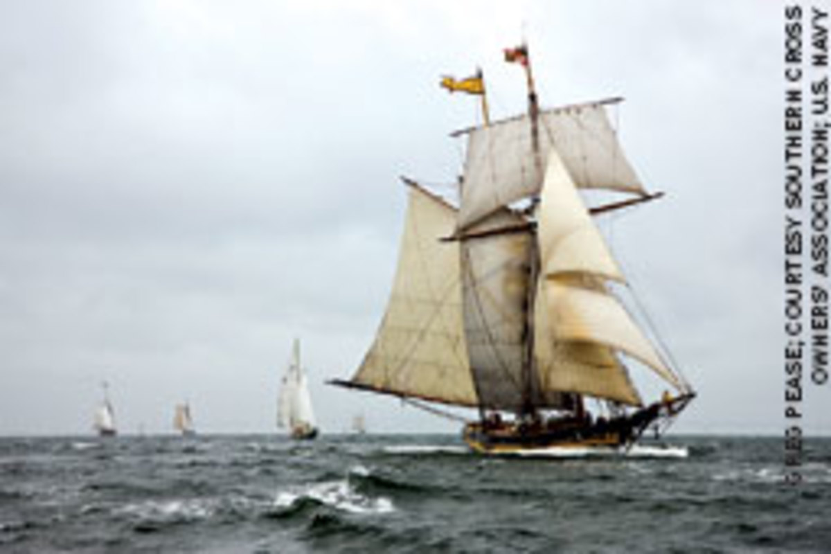 The Pride of Baltimore II takes part in last year's Great Chesapeake Bay Schooner Race.