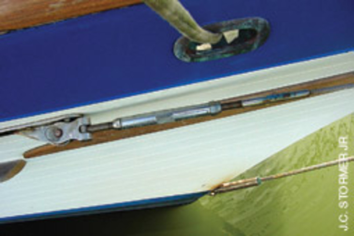 Note the closed turnbuckle with threaded stainless steel T-toggle screw on this Vagavbond 42's bowsprit shroud.