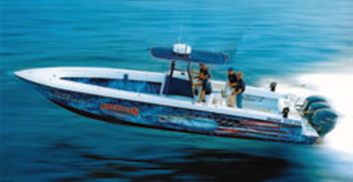 Platt's Contender 33 Open, with its triple Yamaha 350-hp 4-strokes, is known as the fastest in the tournament fleet. Platt's nickname is WFO, Wide (bleepin') Open.