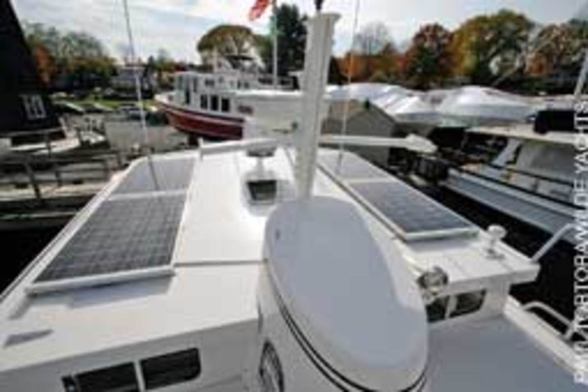 Solar panels such as these installed on a Nordic Tug 39 can provide full electrical power while you're on the hook or a mooring.