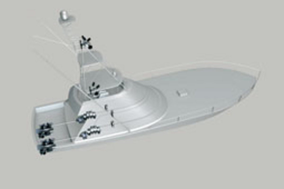 A rendering of the Viking 50 convertible ZF bought as a test platform for its large pod system. The system will be on display at the Ft. Lauderdale and Miami boat shows.