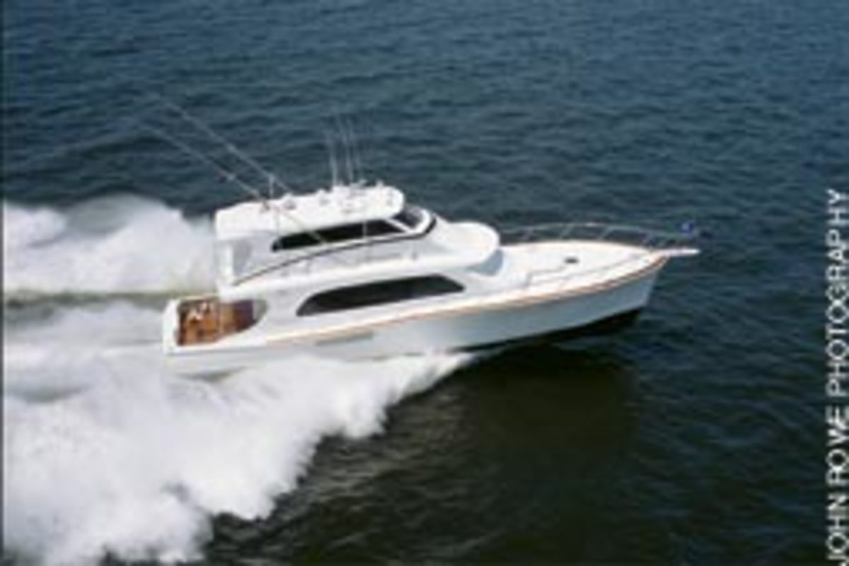 The Tiffany 68 Extravaganza, launched in 2004, cruises at 32 knots.