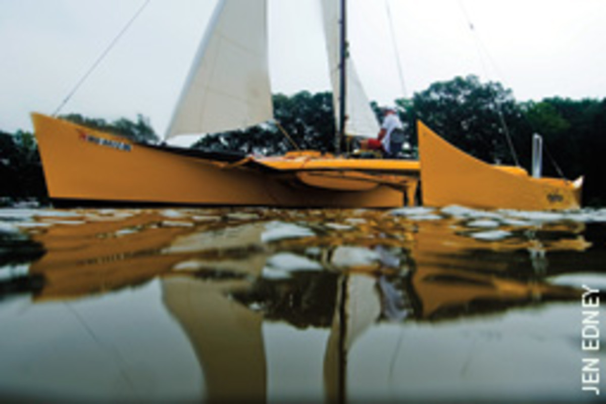 The author learns the ins and outs of proa sailing on the Eastern Shore of Chesapeake Bay.
