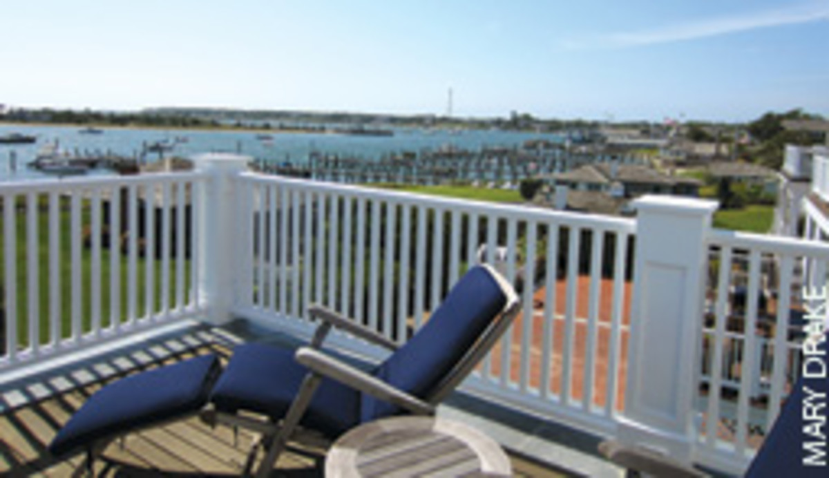 Deck loungers enjoy panoramic views of the harbor.