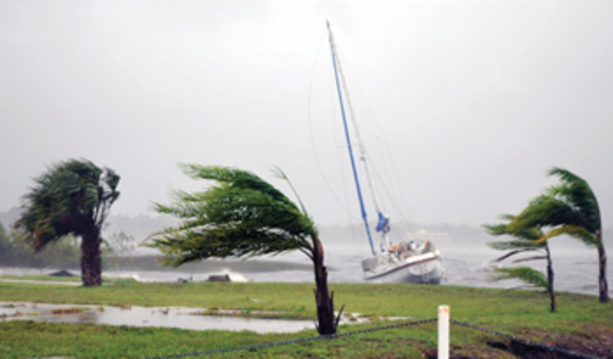 The hurricane pushed this sailboat aground on the St. Johns River in Florida.