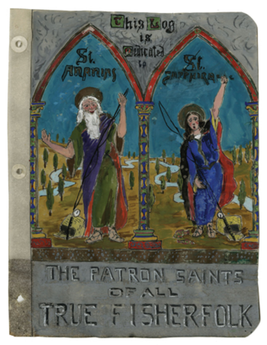 Louis Howe's colorful painting for the log, with its dedication to Ananias and Sapphira, the patron saints of lying fishermen.
