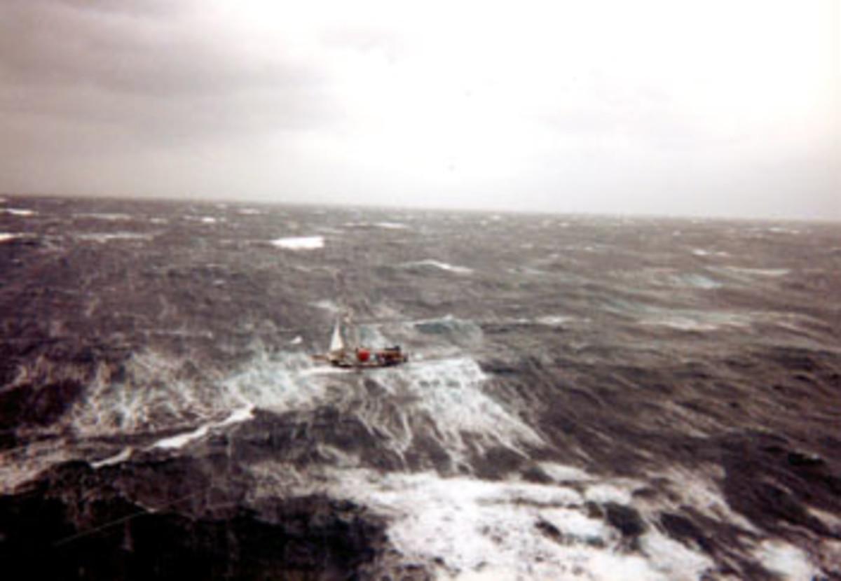 Tamaroa was at the scene to rescue three sailors from the sailboat Satori.