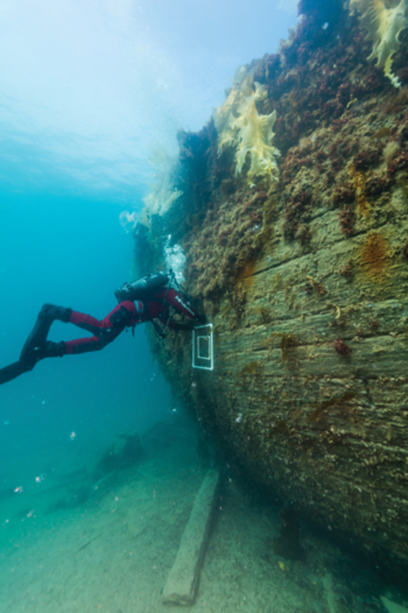 A diver sets a biological sampling quadrant on the port side of Terror's well-preserved hull.