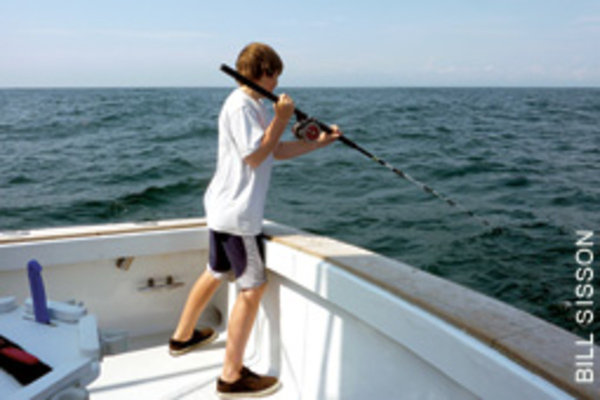 The ample freeboard on Anderson's current boat, a 42-foot Willis, helps keep anglers on board.
