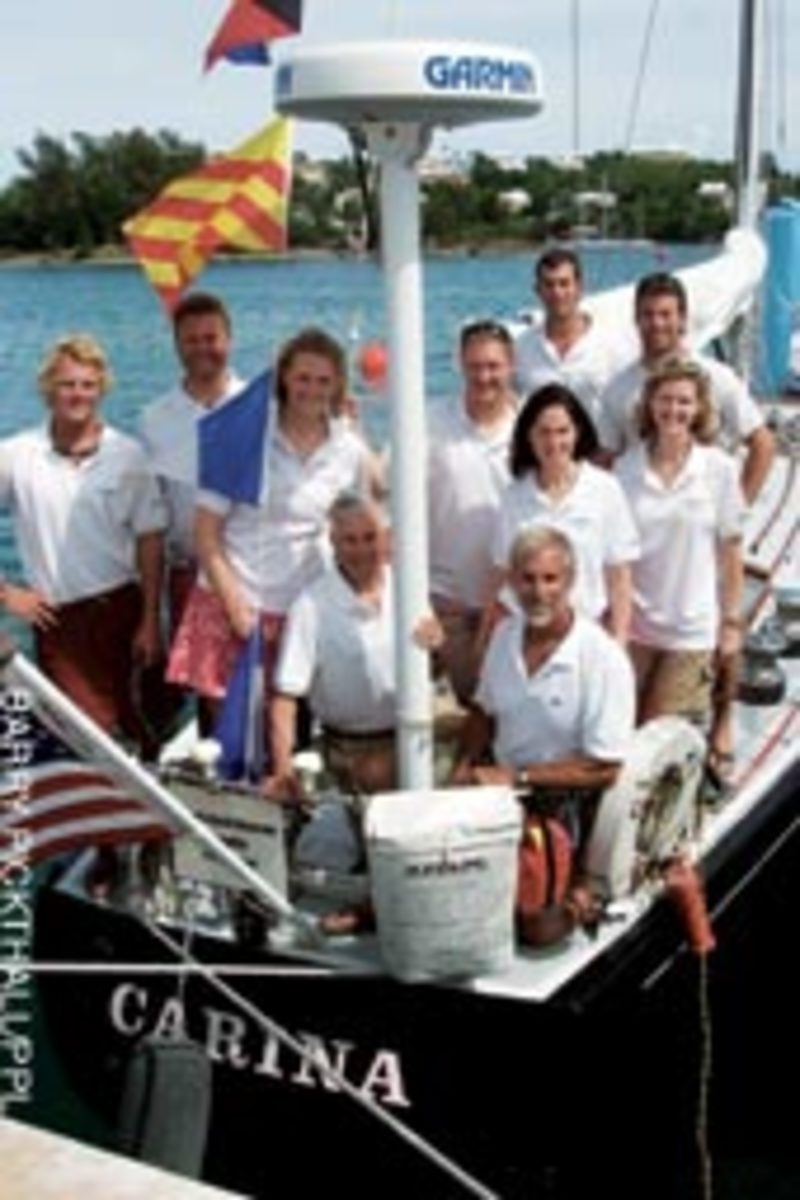 Rives Potts (bottom right), general manager for Brewer Pilots Point Marina in Westbrook, Conn., sailed with his crew to victory in this year's Newport Bermuda Race.