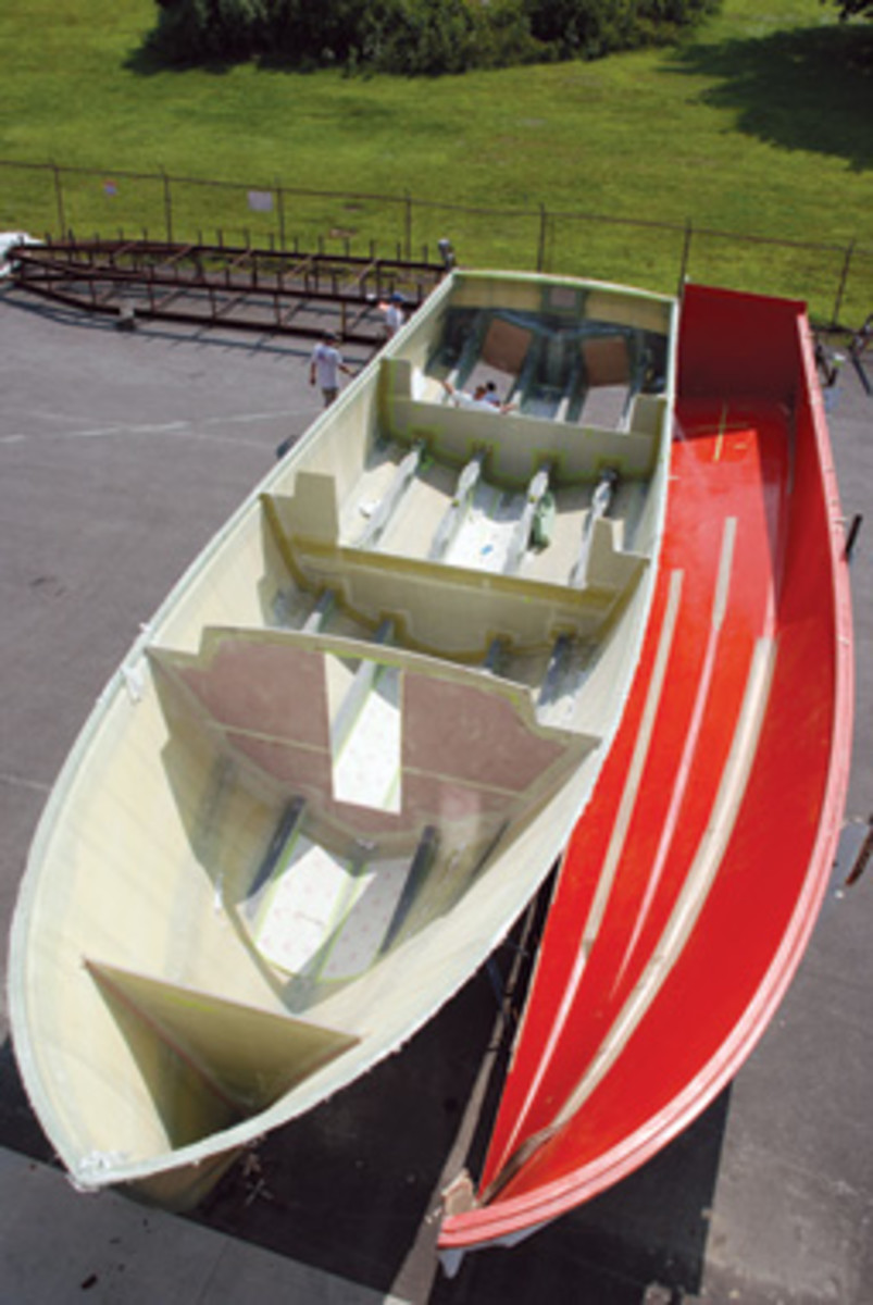 Builders have several options when creating the molds for a custom boat. Shown here is the Doug Zurn 50.