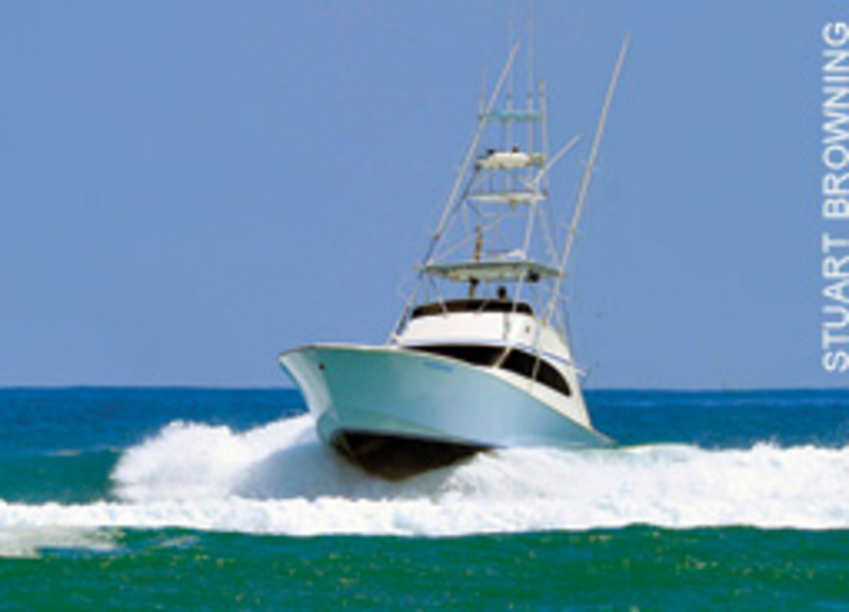 This 48-foot Garlington broached in Jupiter Inlet shortly after this photo was taken. The skipper died in the accident.