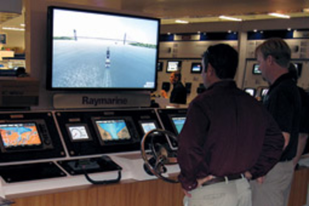 A bridge simulator allows customers to demo electronics.