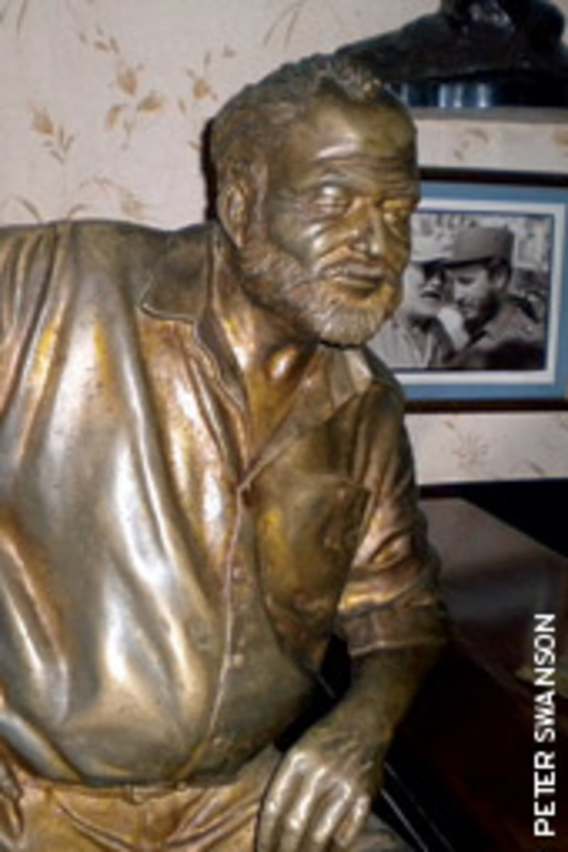 A life-size bronze of the author occupies his usual corner at Floridita, one of his favorite watering holes.