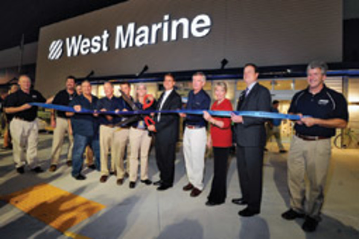 Company officers and local staff officially opened the largest West Marine store in the country in December.