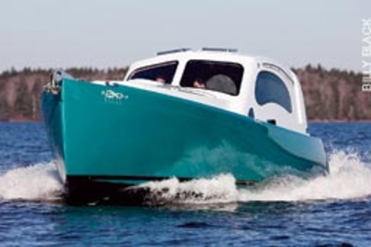 Lionheart Concerto is designed to slip through the water using minimal fuel. With its Yamaha piano, the unique boat is Sawyer's 'floating concert hall.'