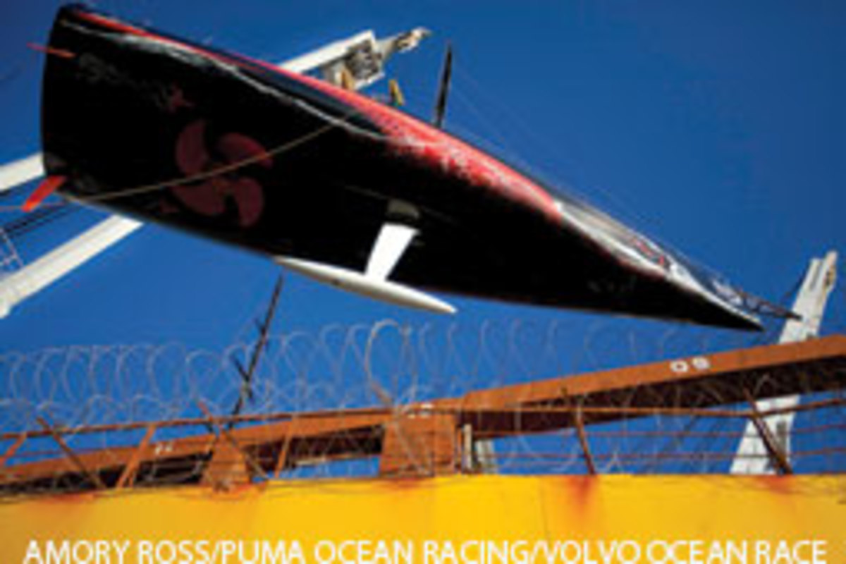 The yachts - this is Puma Ocean Racing's Mar Mostro - were loaded onto a transport ship in the Maldives in a