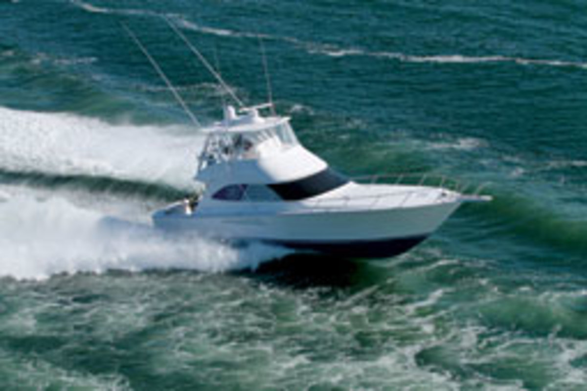 Viking has three models with pod power, including this 42 Open with Cummins MerCruiser Diesel engines and Zeus drives.