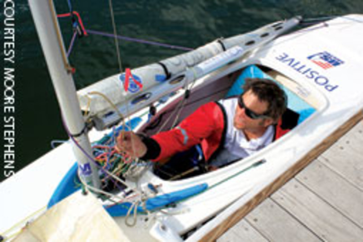 Jody Hill competed for a spot in the 2012 Paralympics in his 2.4 Meter, Positive, a keelboat that's well suited to disabled sailors.