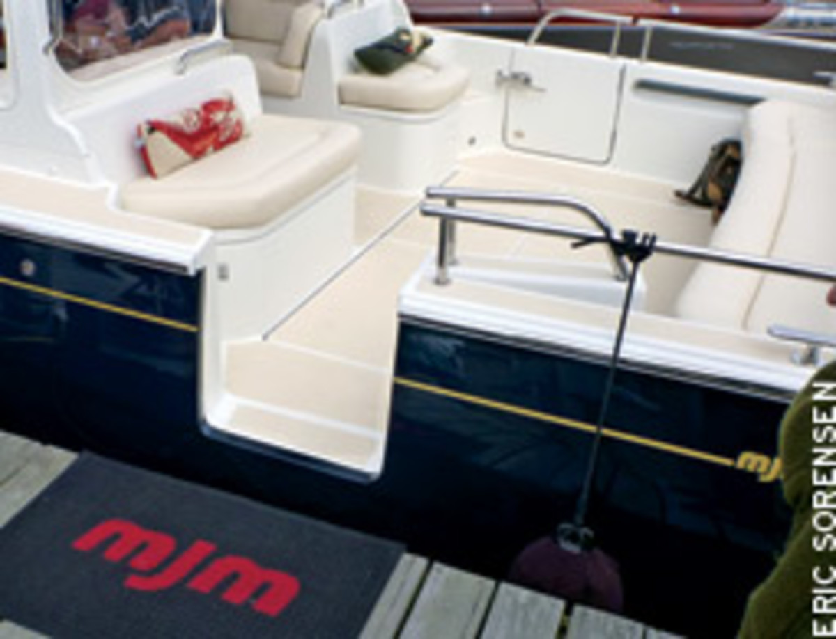 The easy access through the deck-level side door on this MJM 40 is a smart feature.