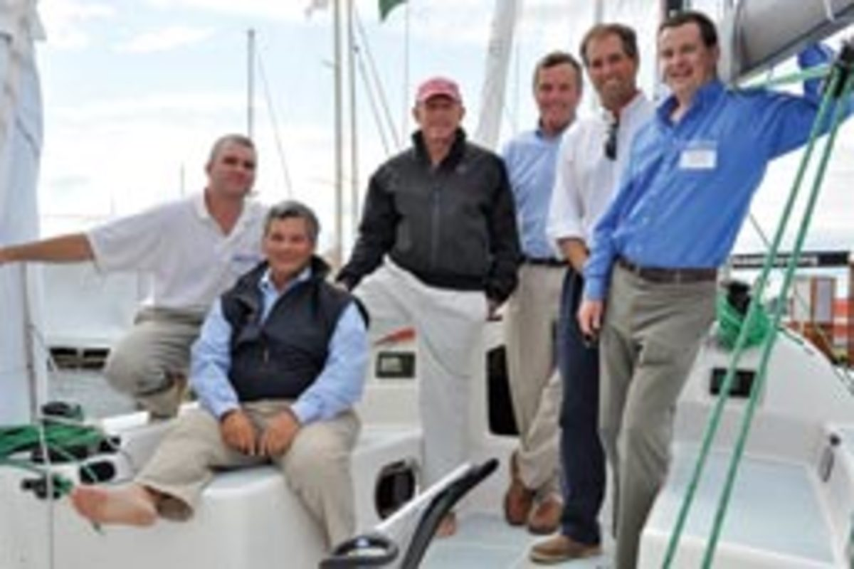 The Summit 35 team (from left): Scott Empson, EdgeWater; George Carabetta, a partnet at Summit Yachts; Tom Whidden; Barry Carroll, another partner at Summit; Peter Truslow; and Mark Mills of Mills Design.
