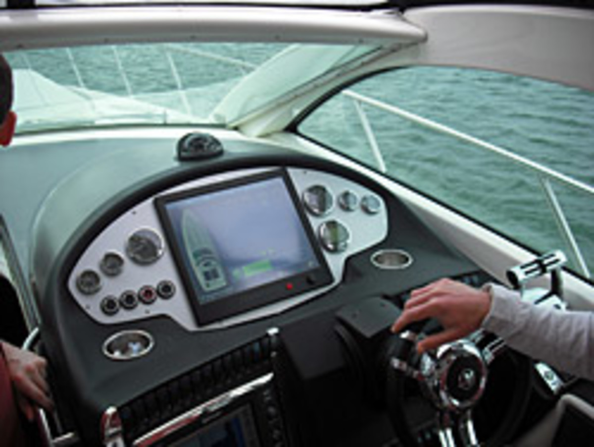 The dual propulsion systems can be monitored from the helm.